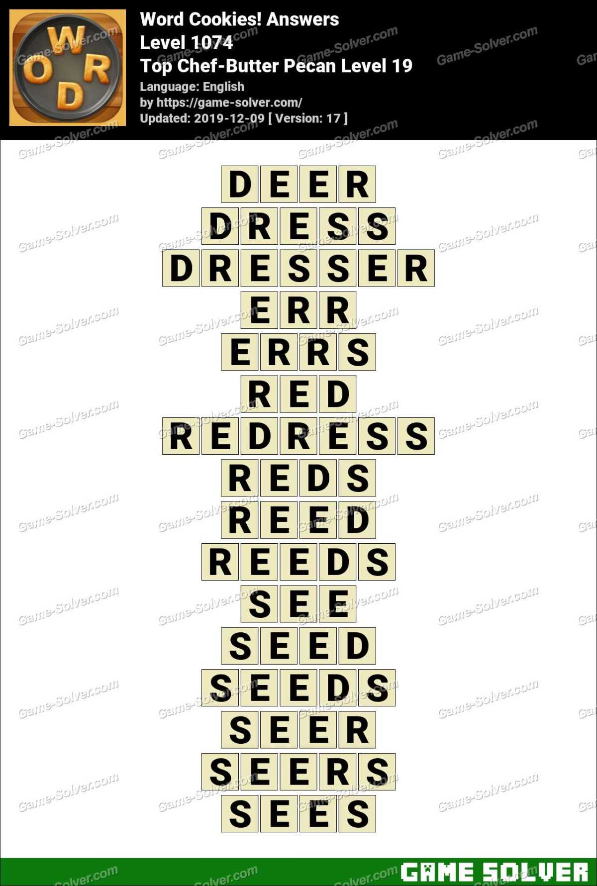 Word Cookies Top Chef-Butter Pecan Level 19 Answers