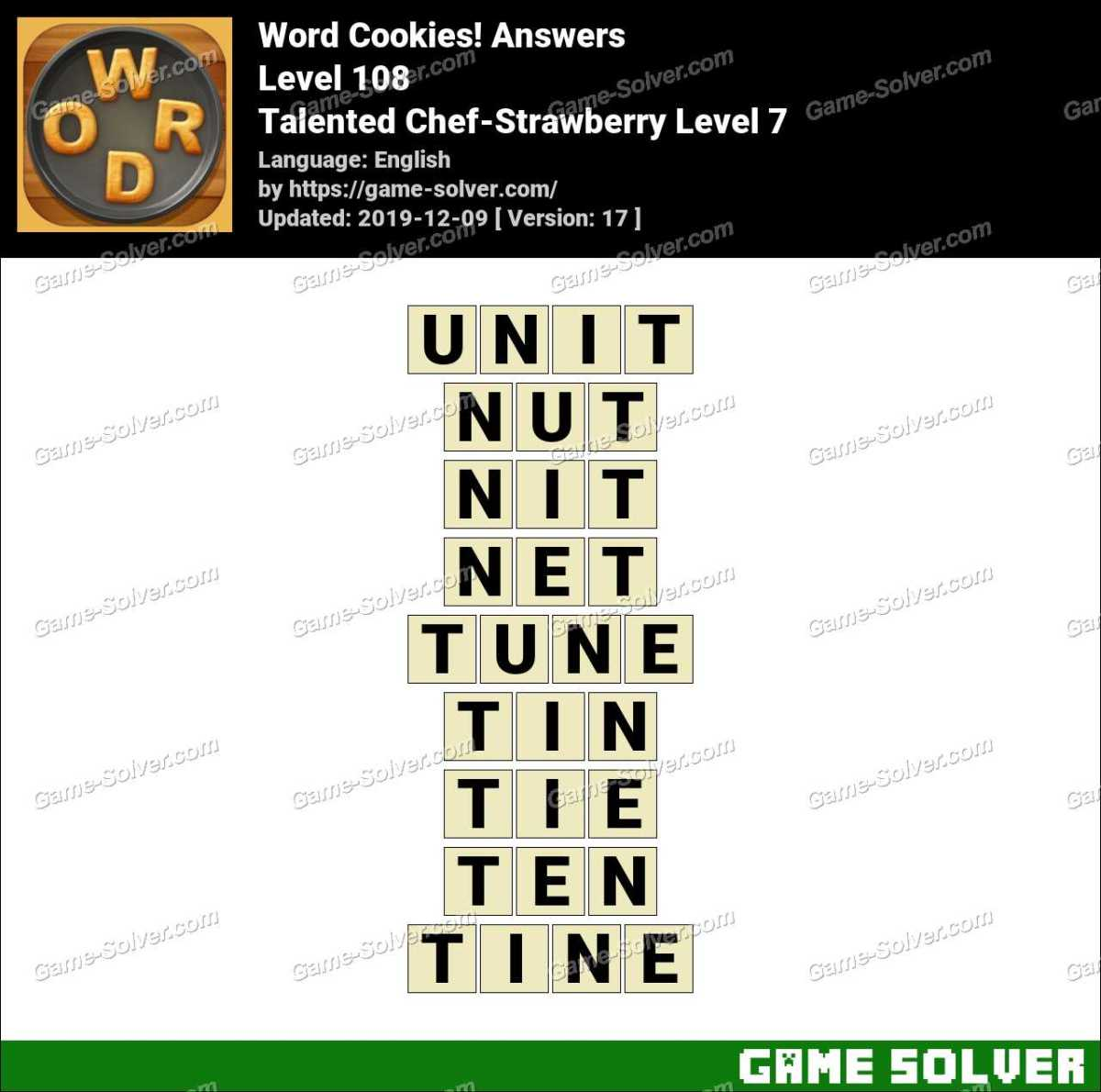 Word Cookies Talented Chef-Strawberry Level 7 Answers