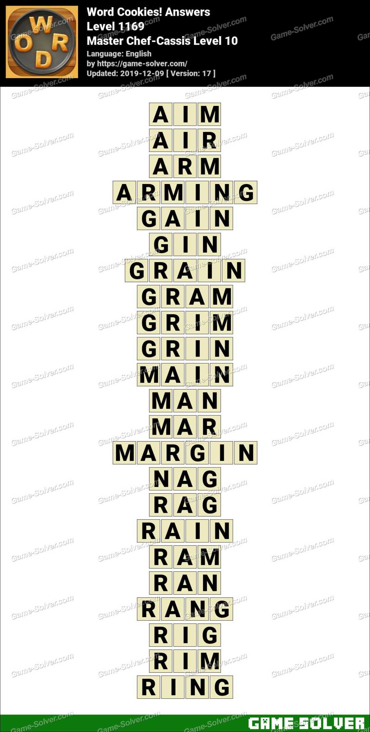 Word Cookies Master Chef-Cassis Level 10 Answers
