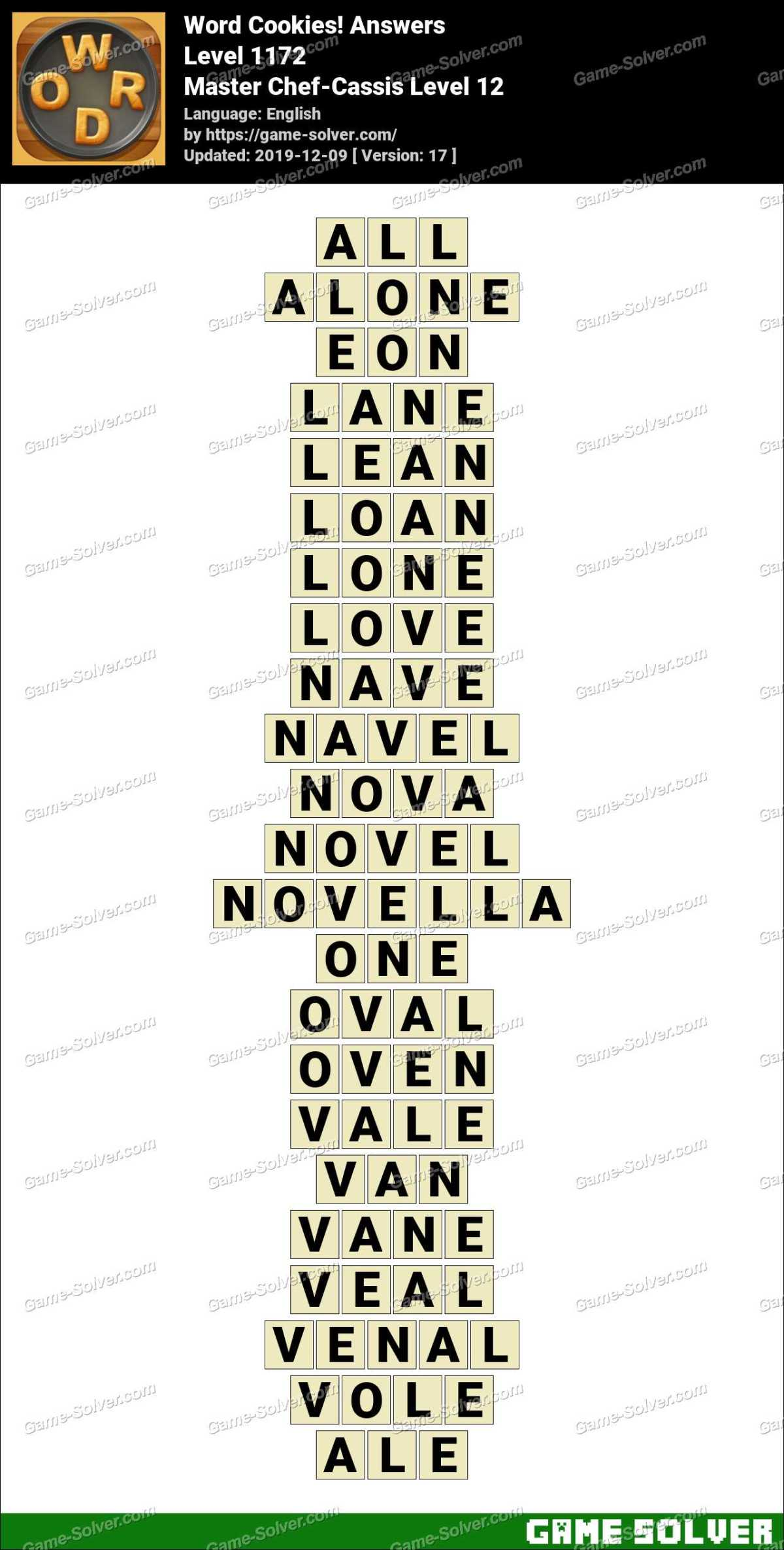 Word Cookies Master Chef-Cassis Level 12 Answers