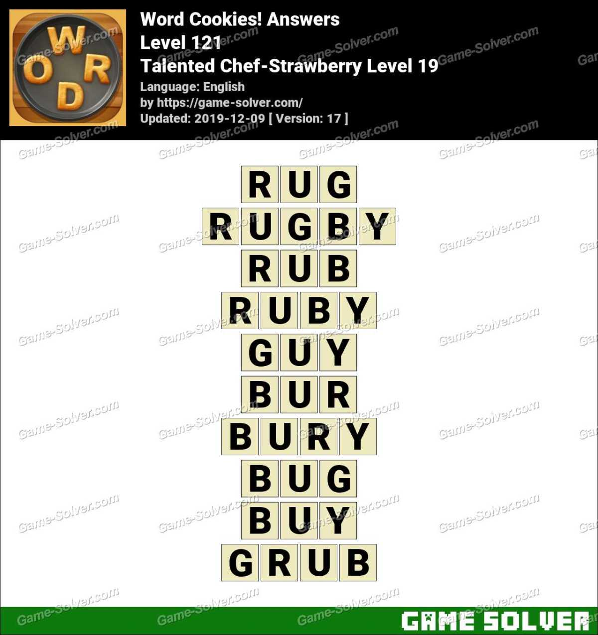 Word Cookies Talented Chef-Strawberry Level 19 Answers