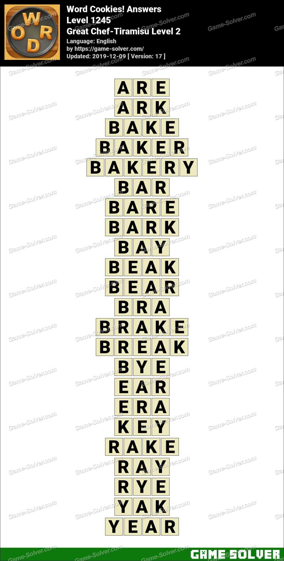 Word Cookies Great Chef-Tiramisu Level 2 Answers