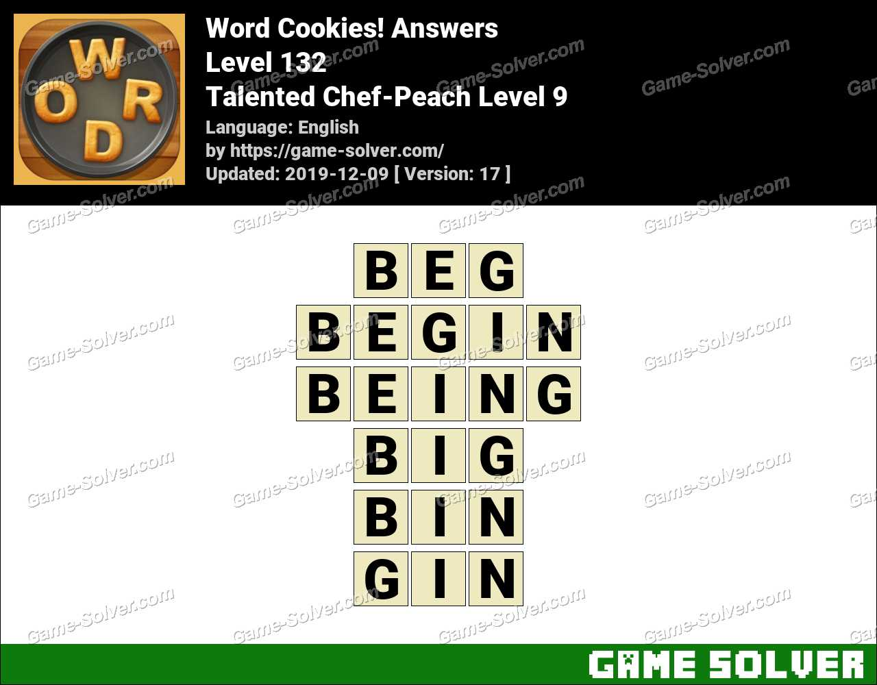 Word Cookies Talented Chef-Peach Level 9 Answers