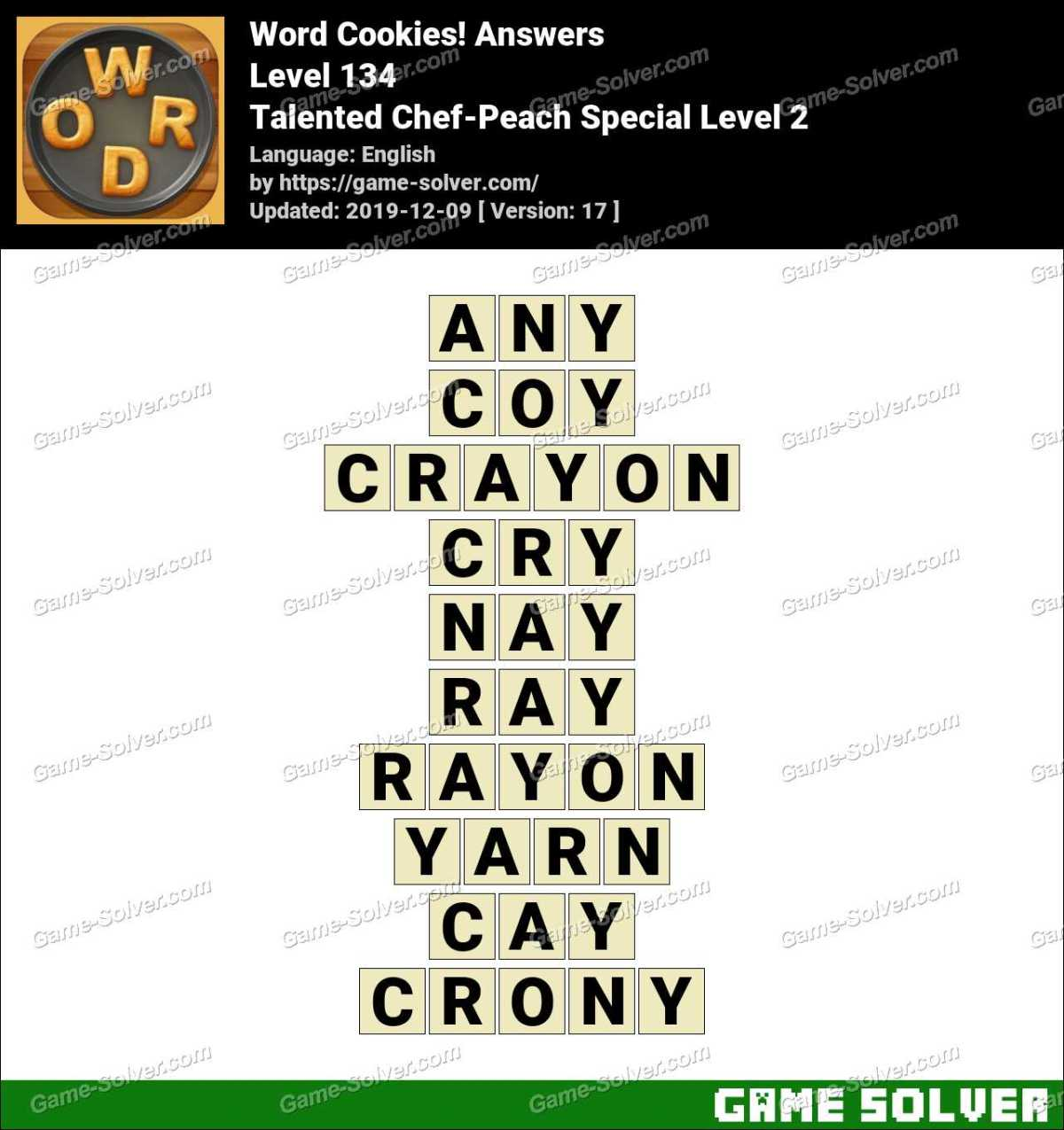 Word Cookies Talented Chef-Peach Special Level 2 Answers