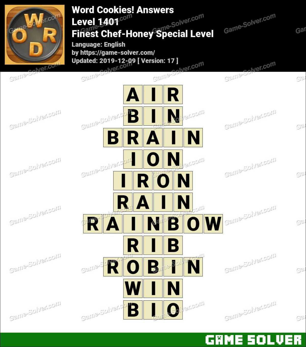 Word Cookies Finest Chef-Honey Special Level Answers