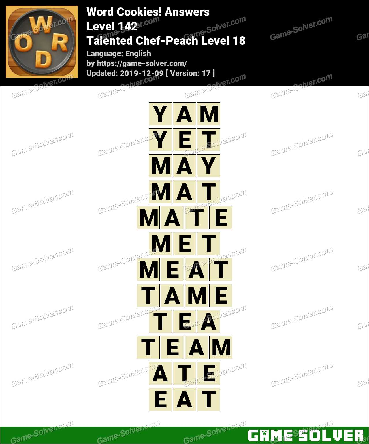 Word Cookies Talented Chef-Peach Level 18 Answers