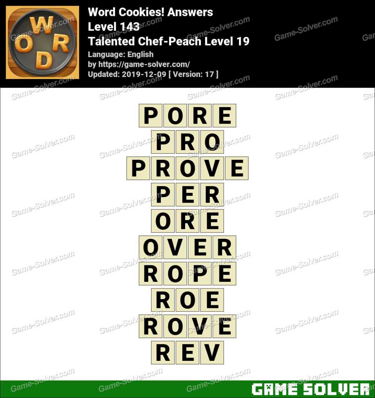 Word Cookies Talented Chef-Peach Level 19 Answers