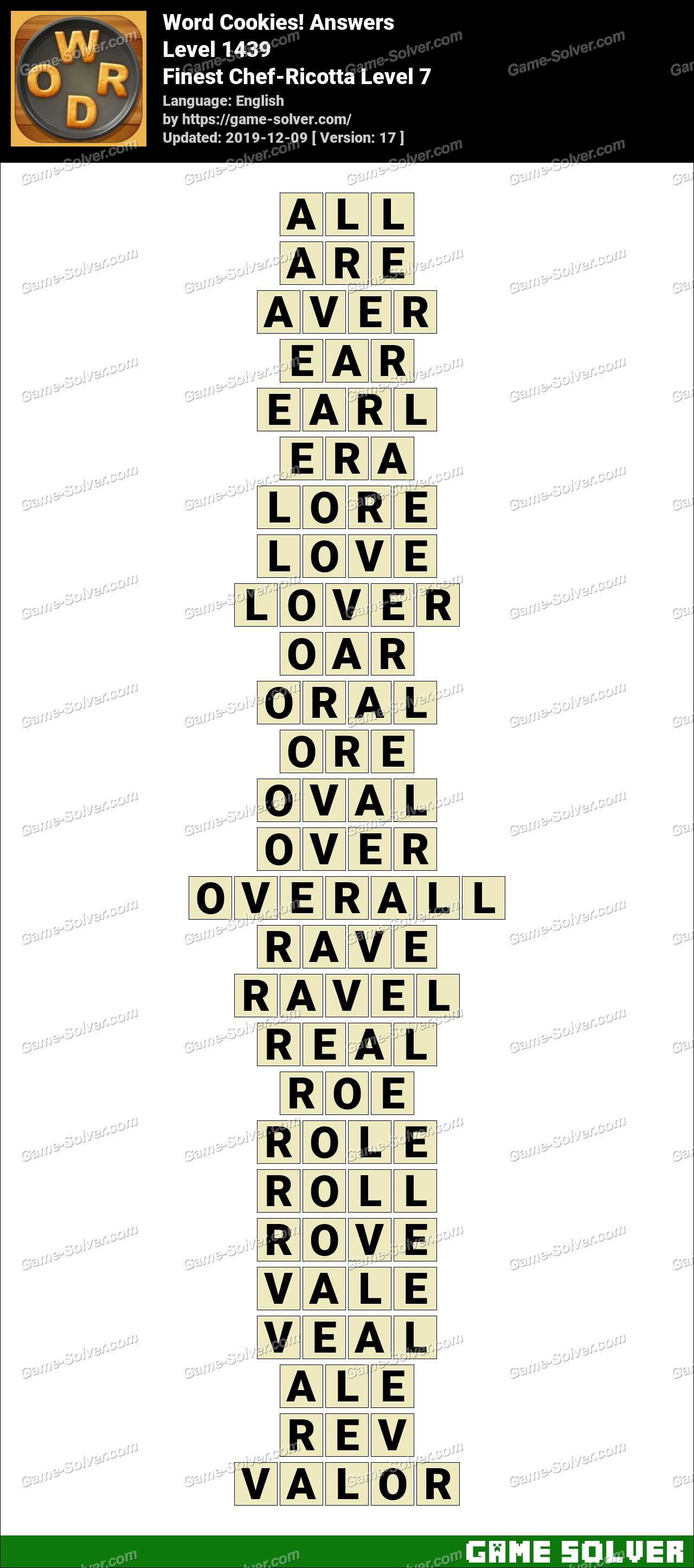 Word Cookies Finest Chef-Ricotta Level 7 Answers