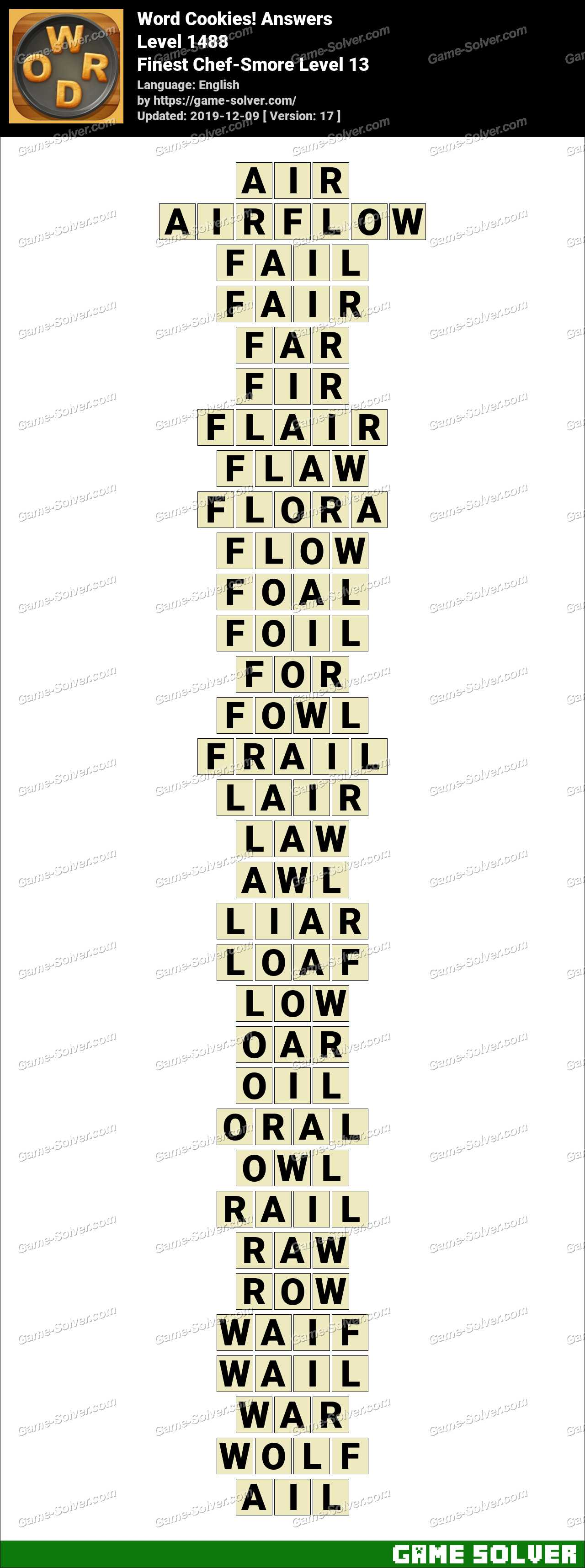 Word Cookies Finest Chef-Smore Level 13 Answers