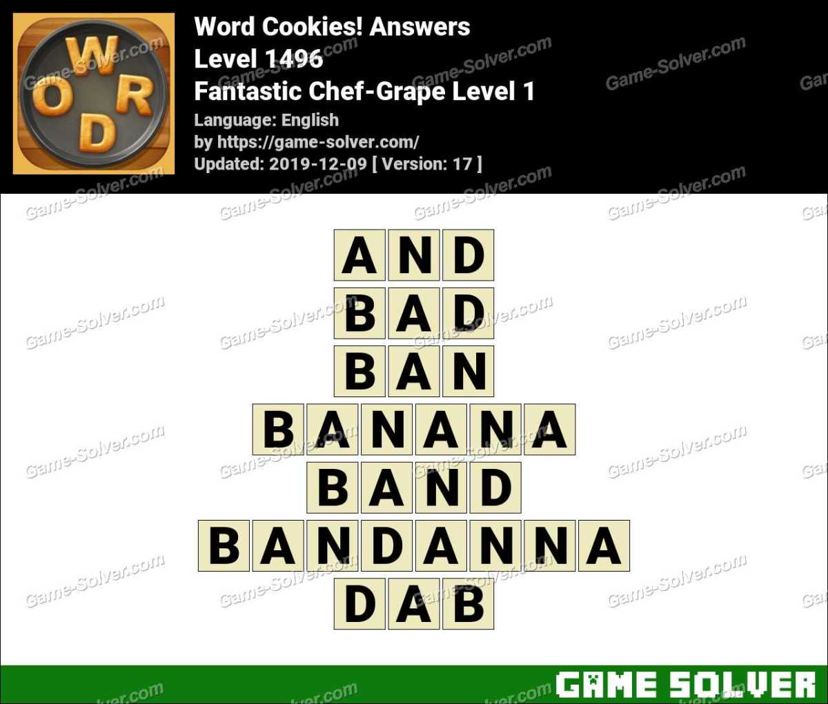 Word Cookies Fantastic Chef-Grape Level 1 Answers