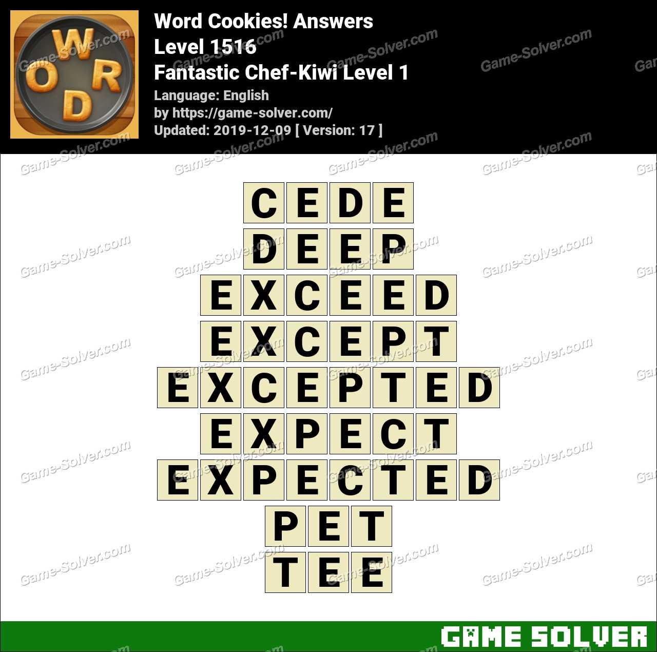 Word Cookies Fantastic Chef-Kiwi Level 1 Answers
