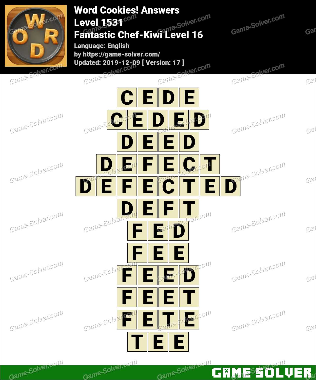 Word Cookies Fantastic Chef-Kiwi Level 16 Answers