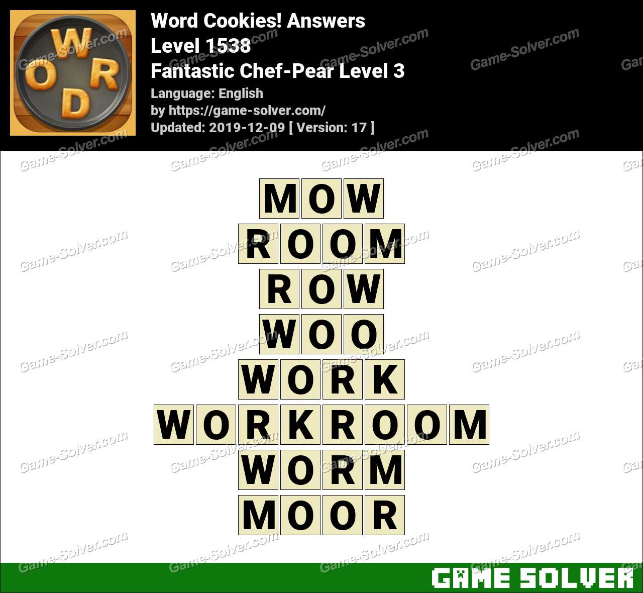 Word Cookies Fantastic Chef-Pear Level 3 Answers