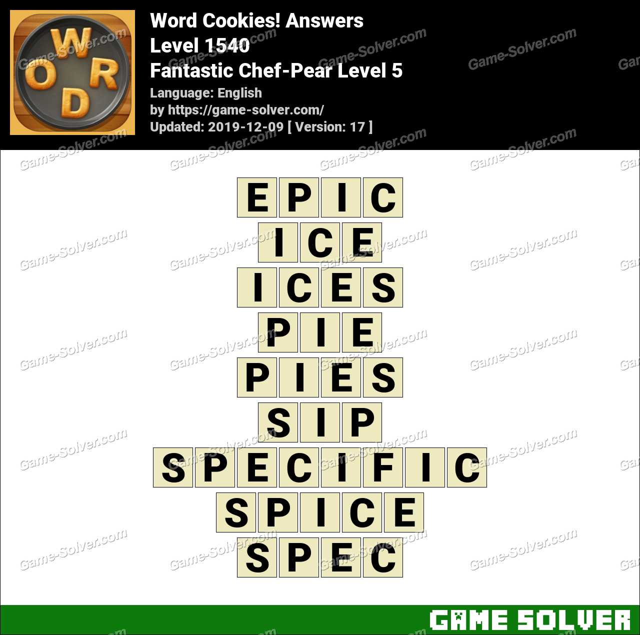 Word Cookies Fantastic Chef-Pear Level 5 Answers