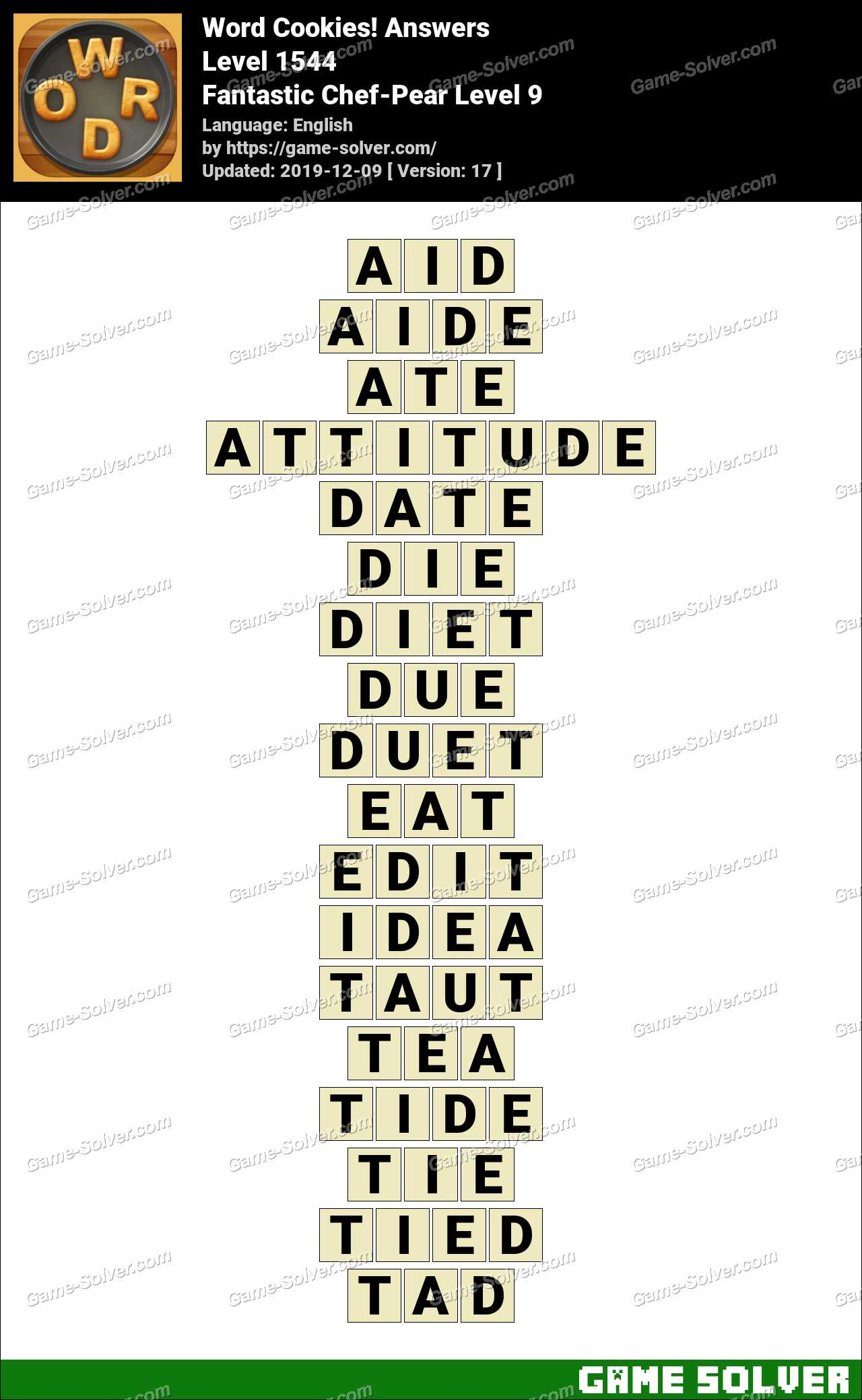 Word Cookies Fantastic Chef-Pear Level 9 Answers
