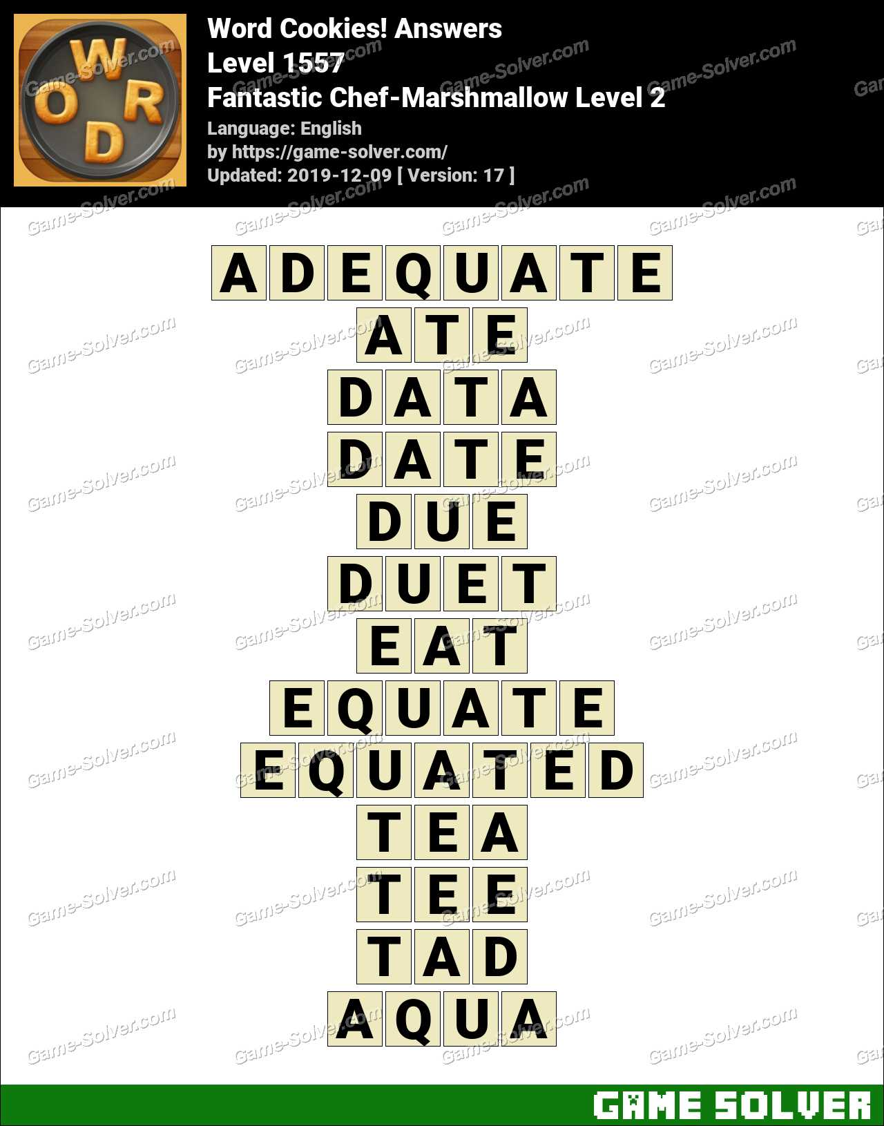 Word Cookies Fantastic Chef-Marshmallow Level 2 Answers