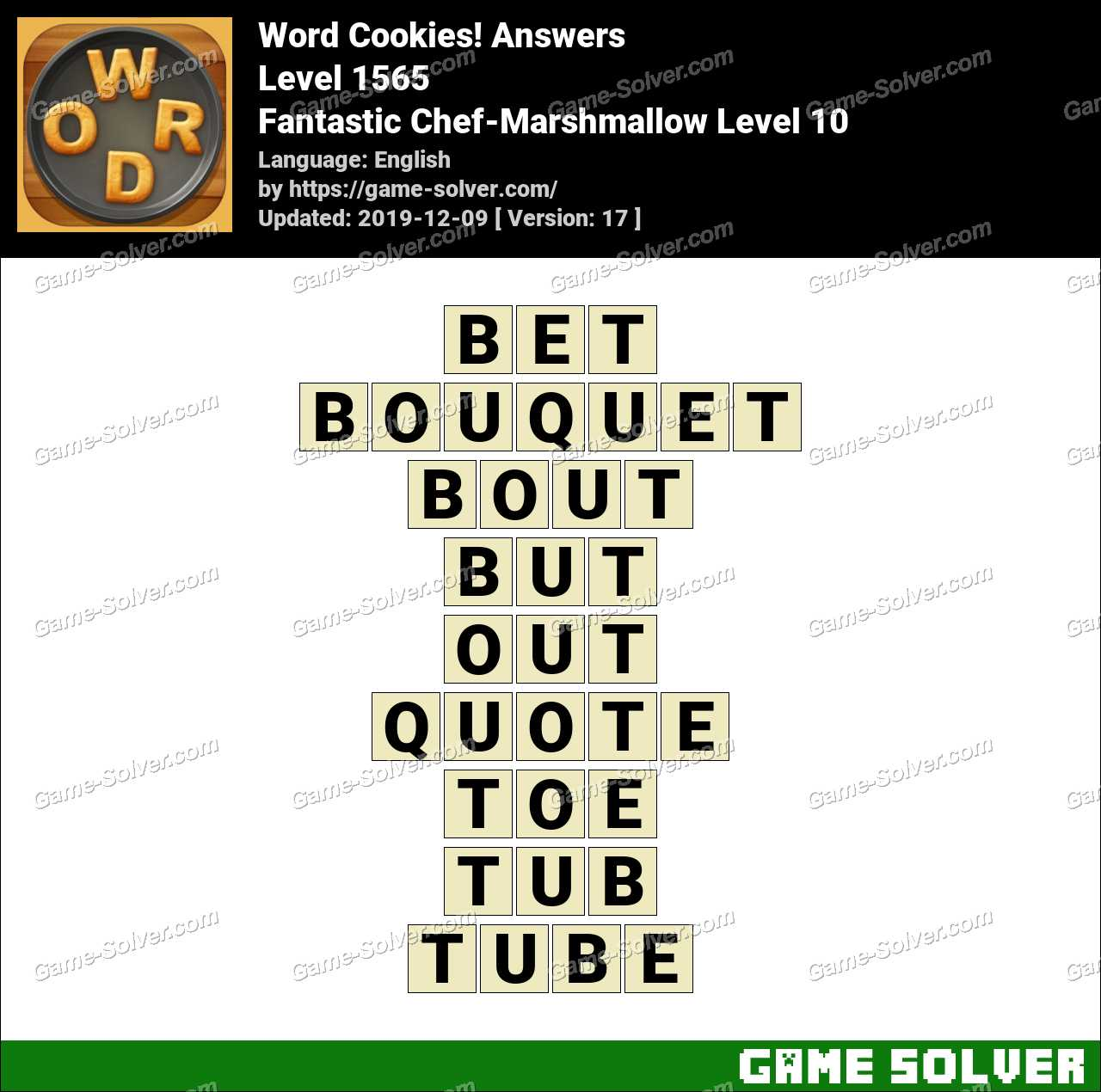 Word Cookies Fantastic Chef-Marshmallow Level 10 Answers