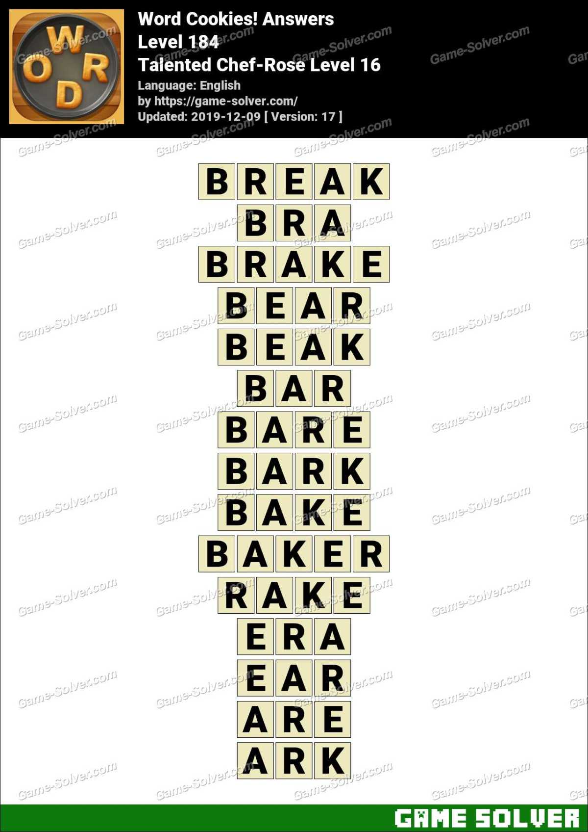Word Cookies Talented Chef-Rose Level 16 Answers