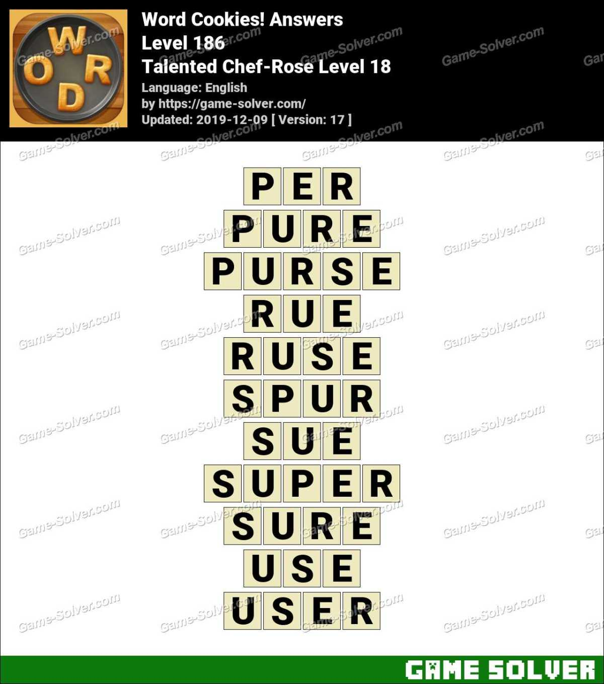 Word Cookies Talented Chef-Rose Level 18 Answers