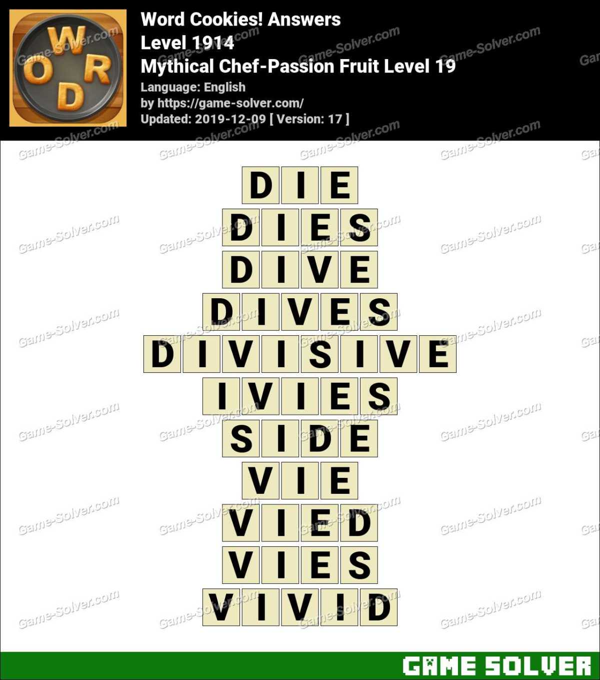 Word Cookies Mythical Chef-Passion Fruit Level 19 Answers