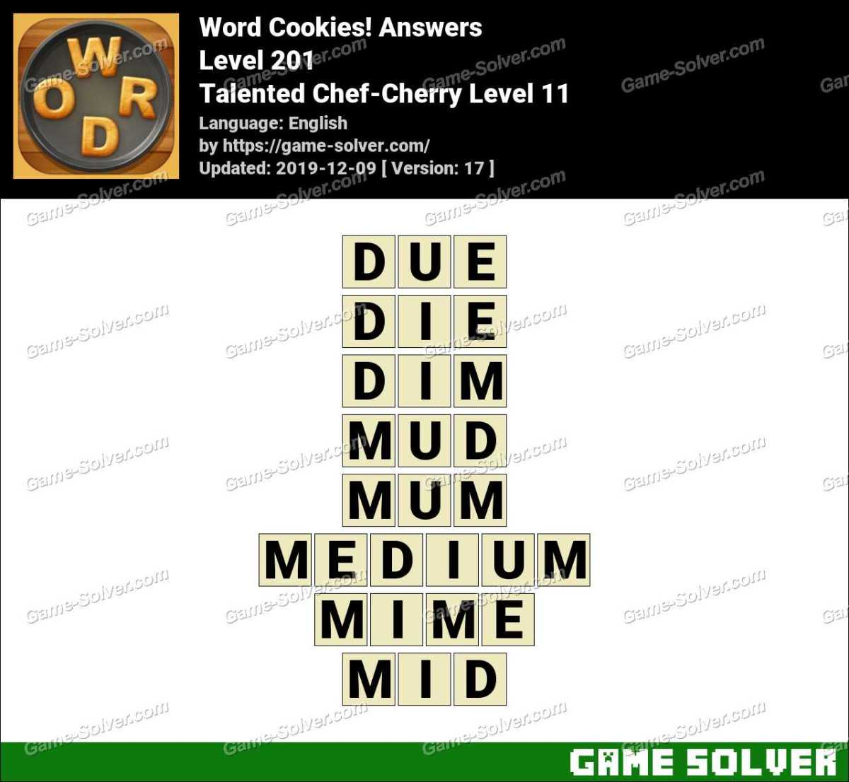 Word Cookies Talented Chef-Cherry Level 11 Answers