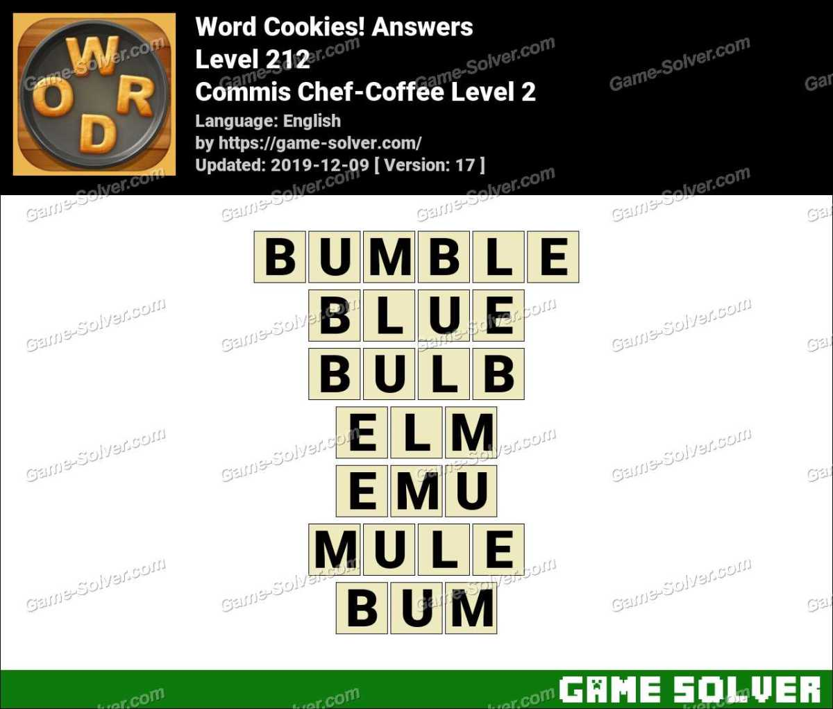 Word Cookies Commis Chef-Coffee Level 2 Answers