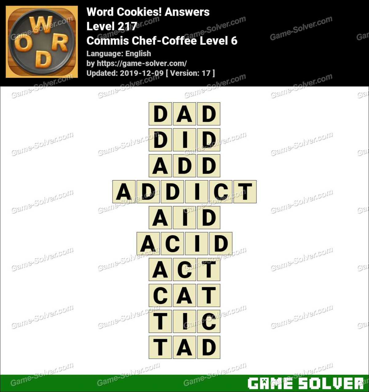 Word Cookies Commis Chef-Coffee Level 6 Answers