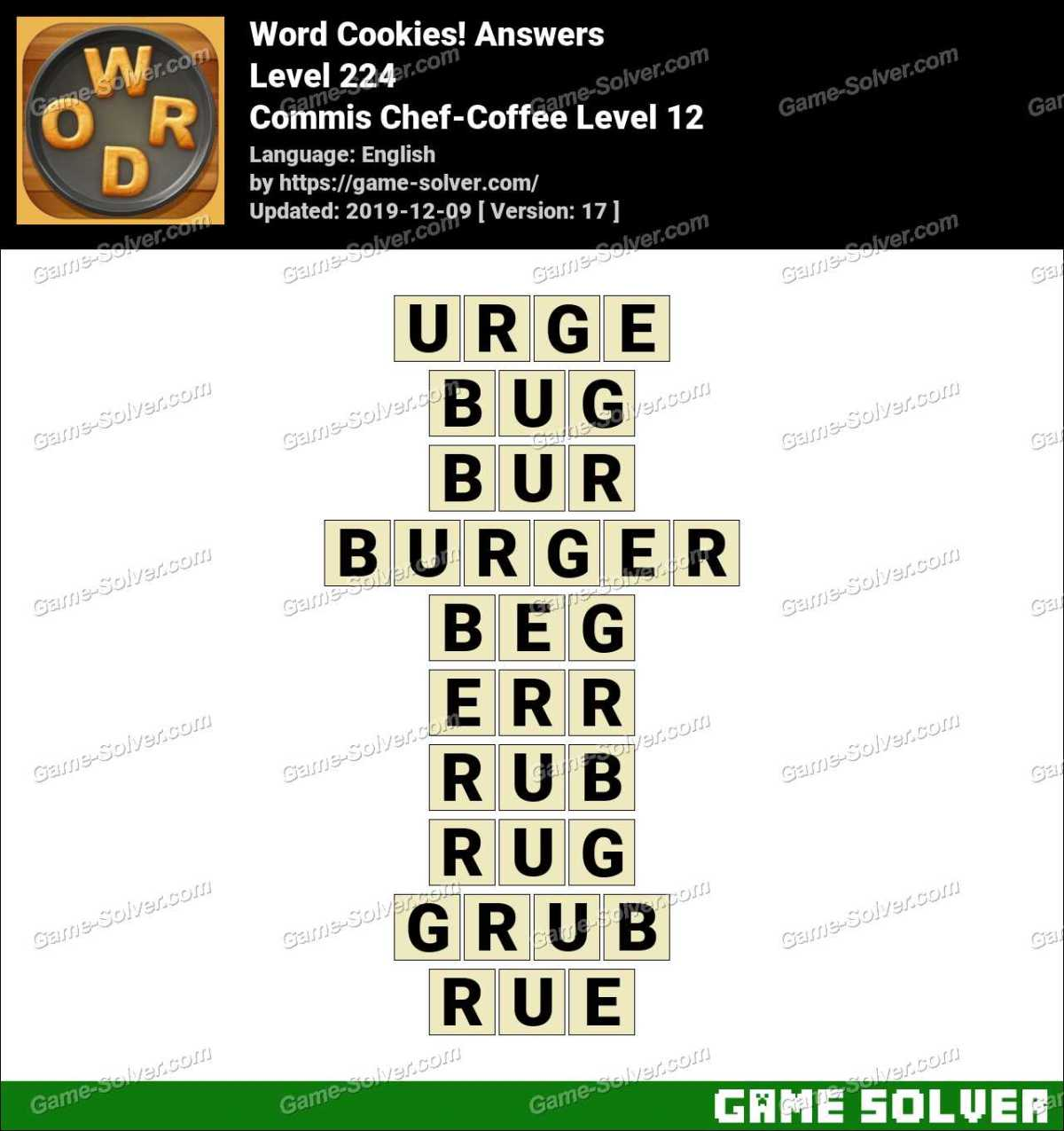 Word Cookies Commis Chef-Coffee Level 12 Answers