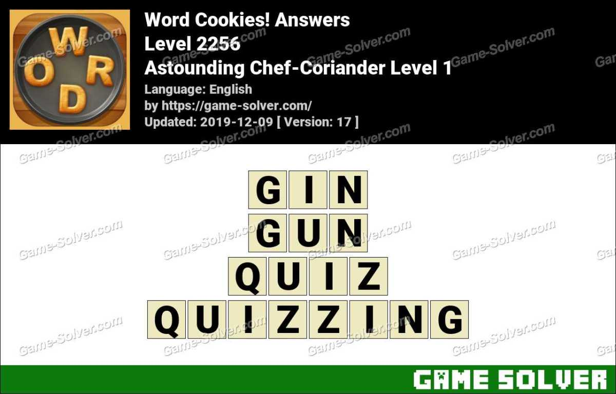 Word Cookies Astounding Chef-Coriander Level 1 Answers