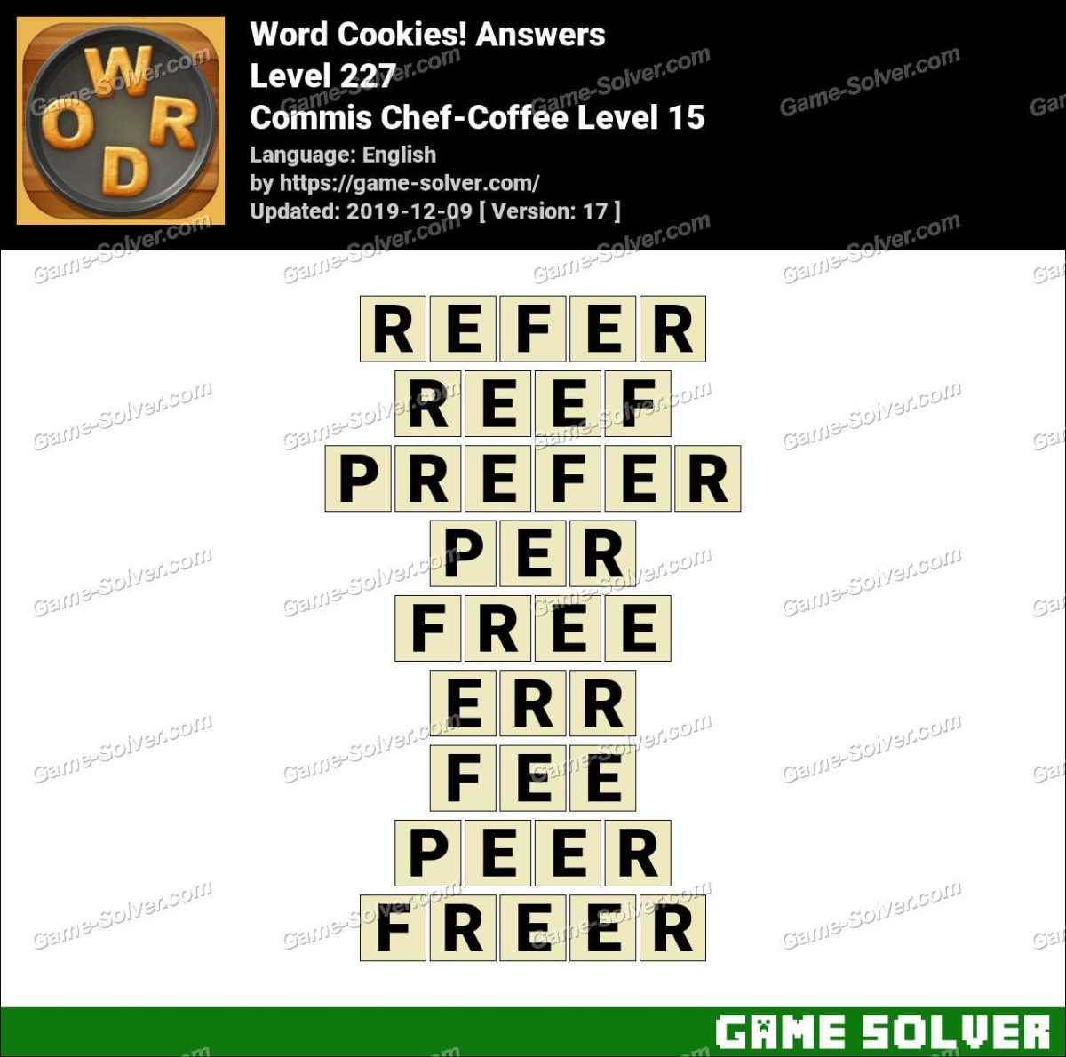 Word Cookies Commis Chef-Coffee Level 15 Answers