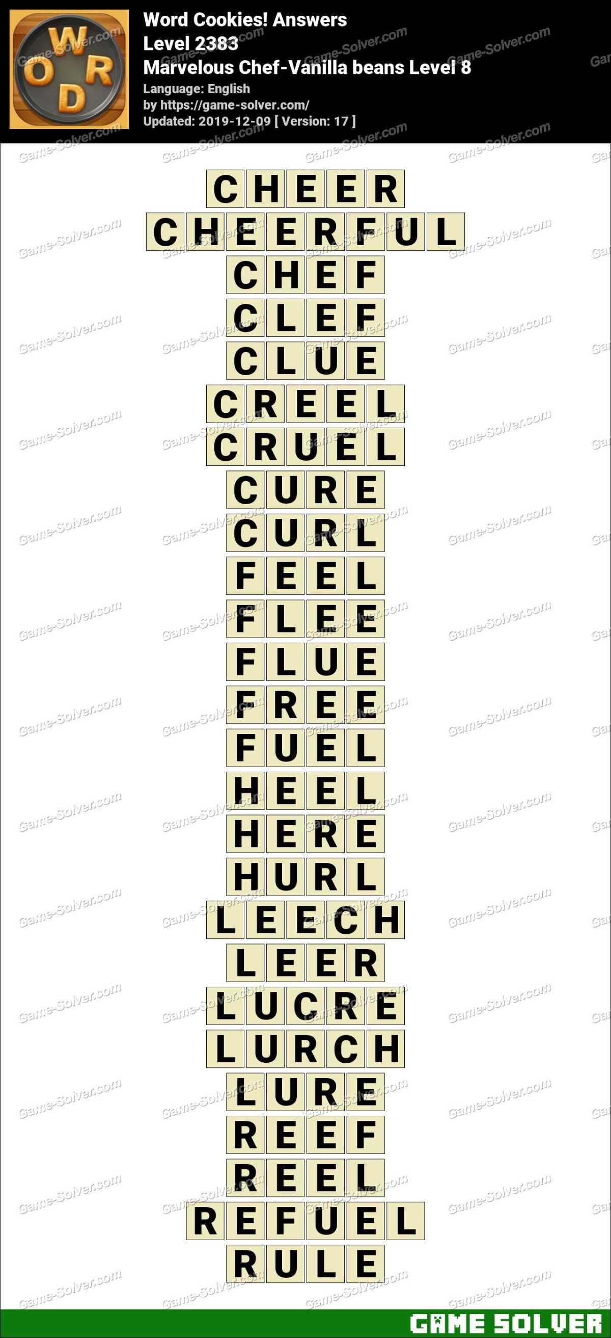 Word Cookies Marvelous Chef-Vanilla beans Level 8 Answers