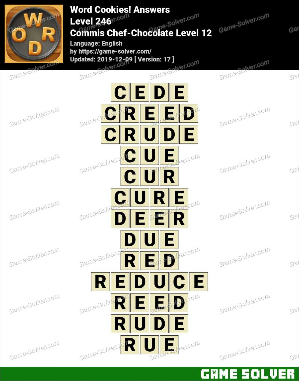 Word Cookies Commis Chef-Chocolate Level 12 Answers