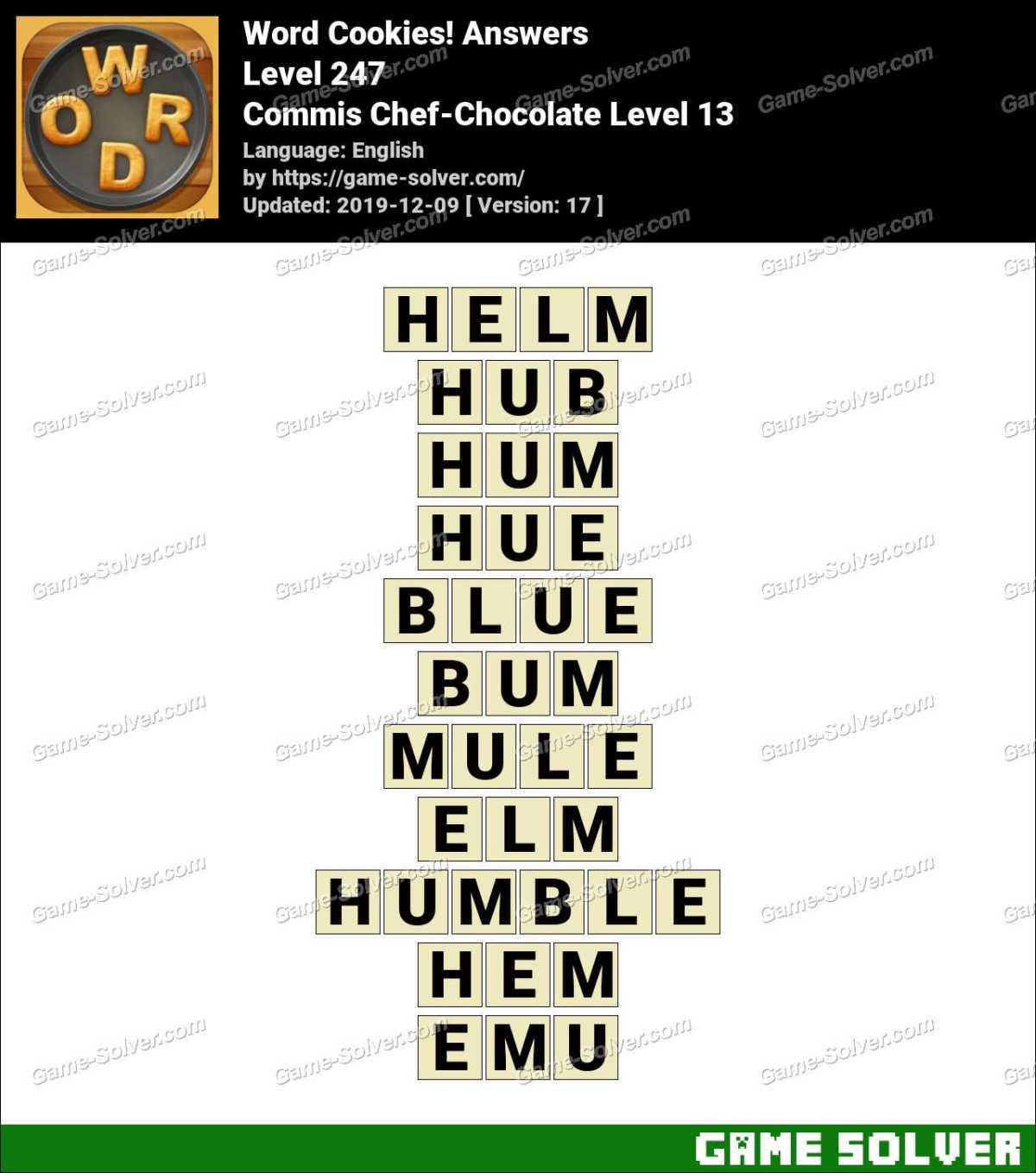 Word Cookies Commis Chef-Chocolate Level 13 Answers