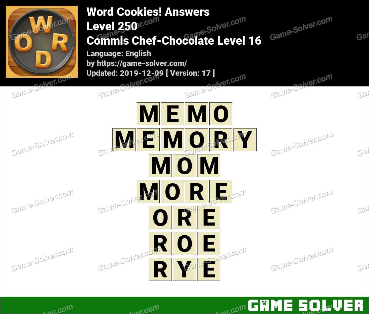 Word Cookies Commis Chef-Chocolate Level 16 Answers