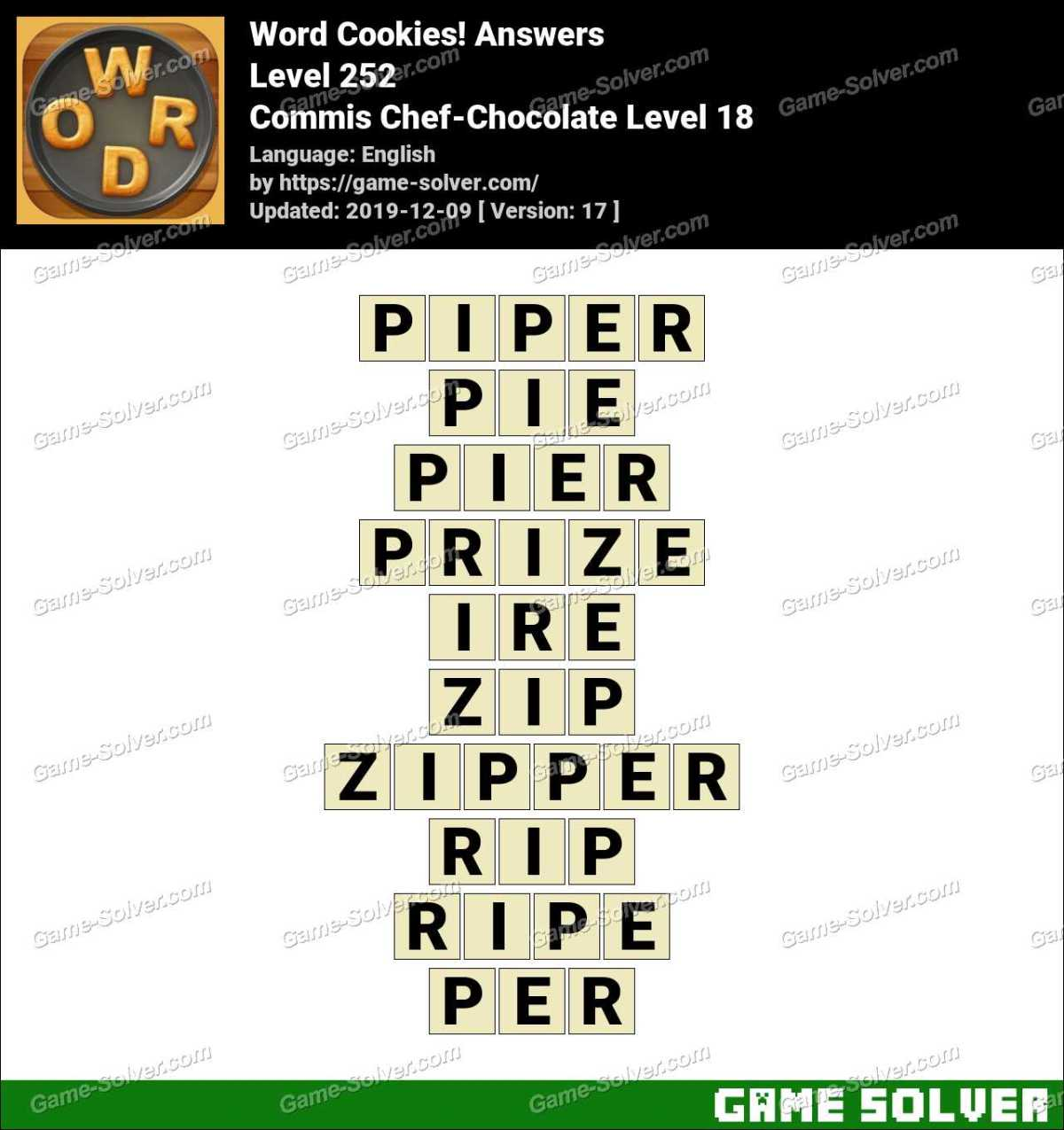Word Cookies Commis Chef-Chocolate Level 18 Answers