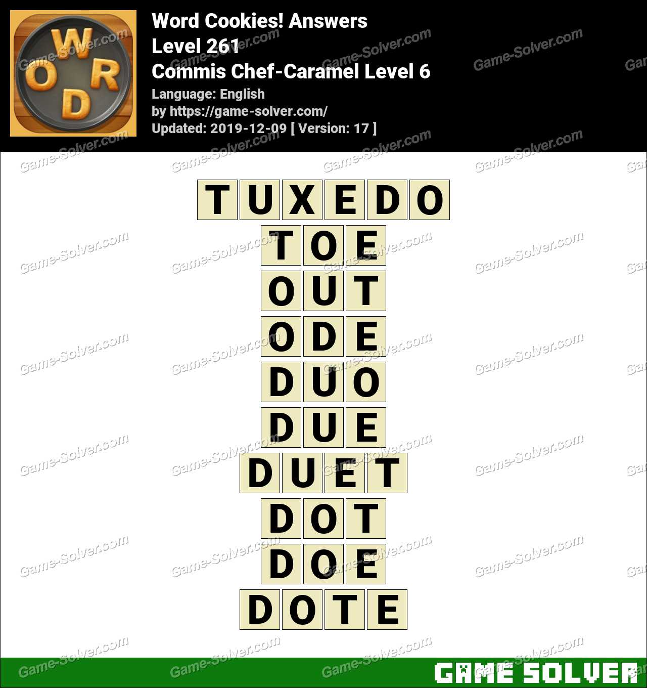 Word Cookies Commis Chef-Caramel Level 6 Answers