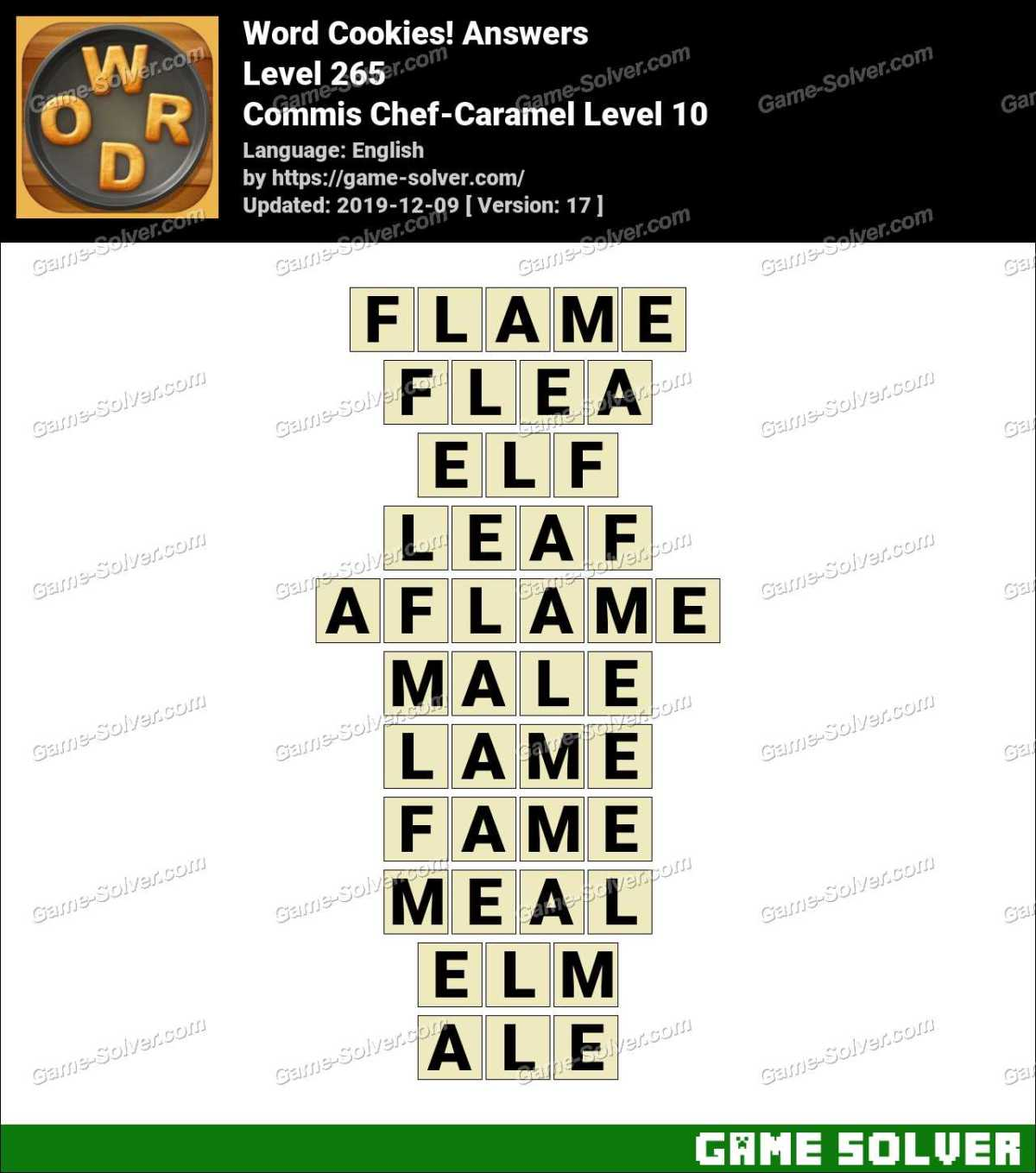 Word Cookies Commis Chef-Caramel Level 10 Answers