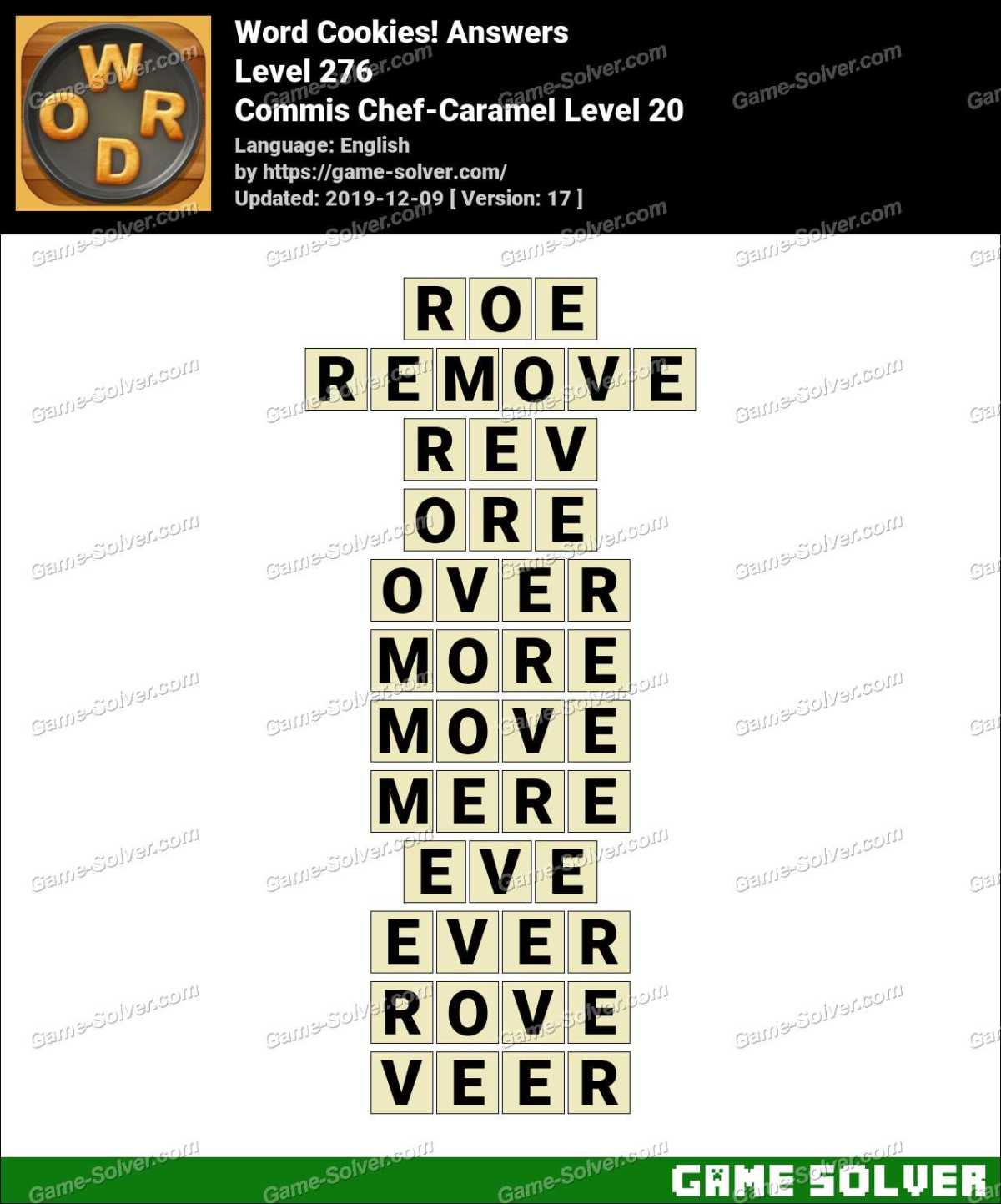 Word Cookies Commis Chef-Caramel Level 20 Answers