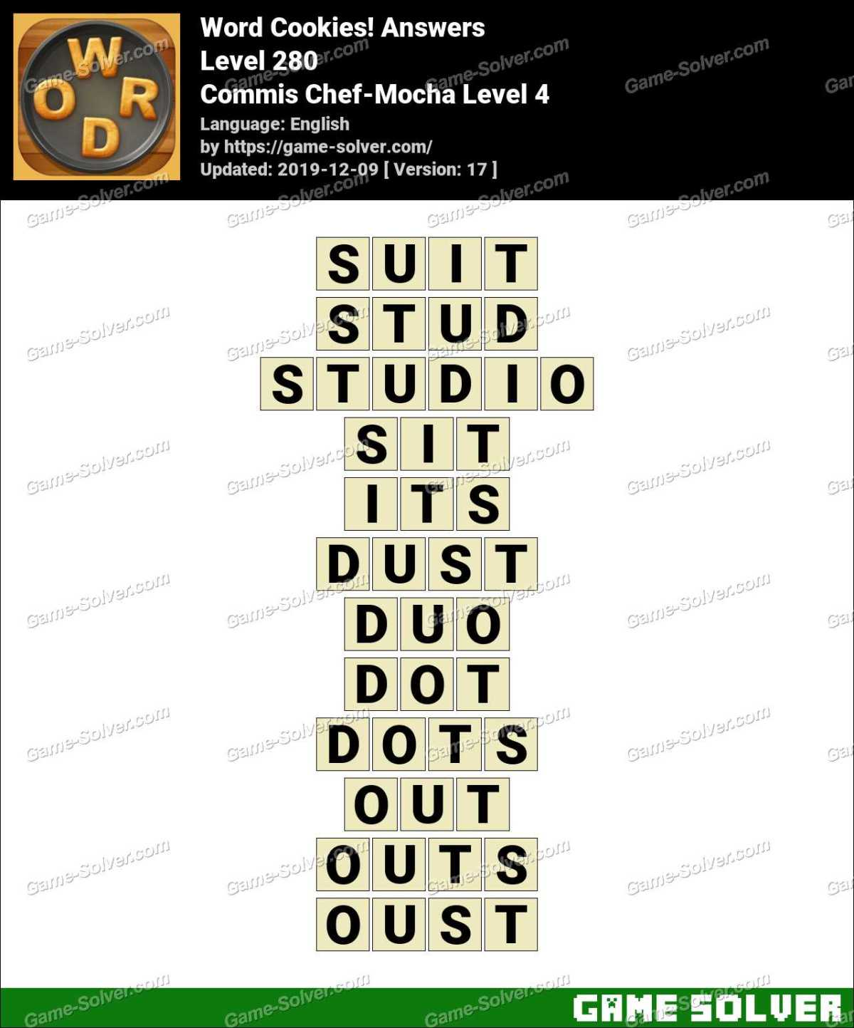 Word Cookies Commis Chef-Mocha Level 4 Answers