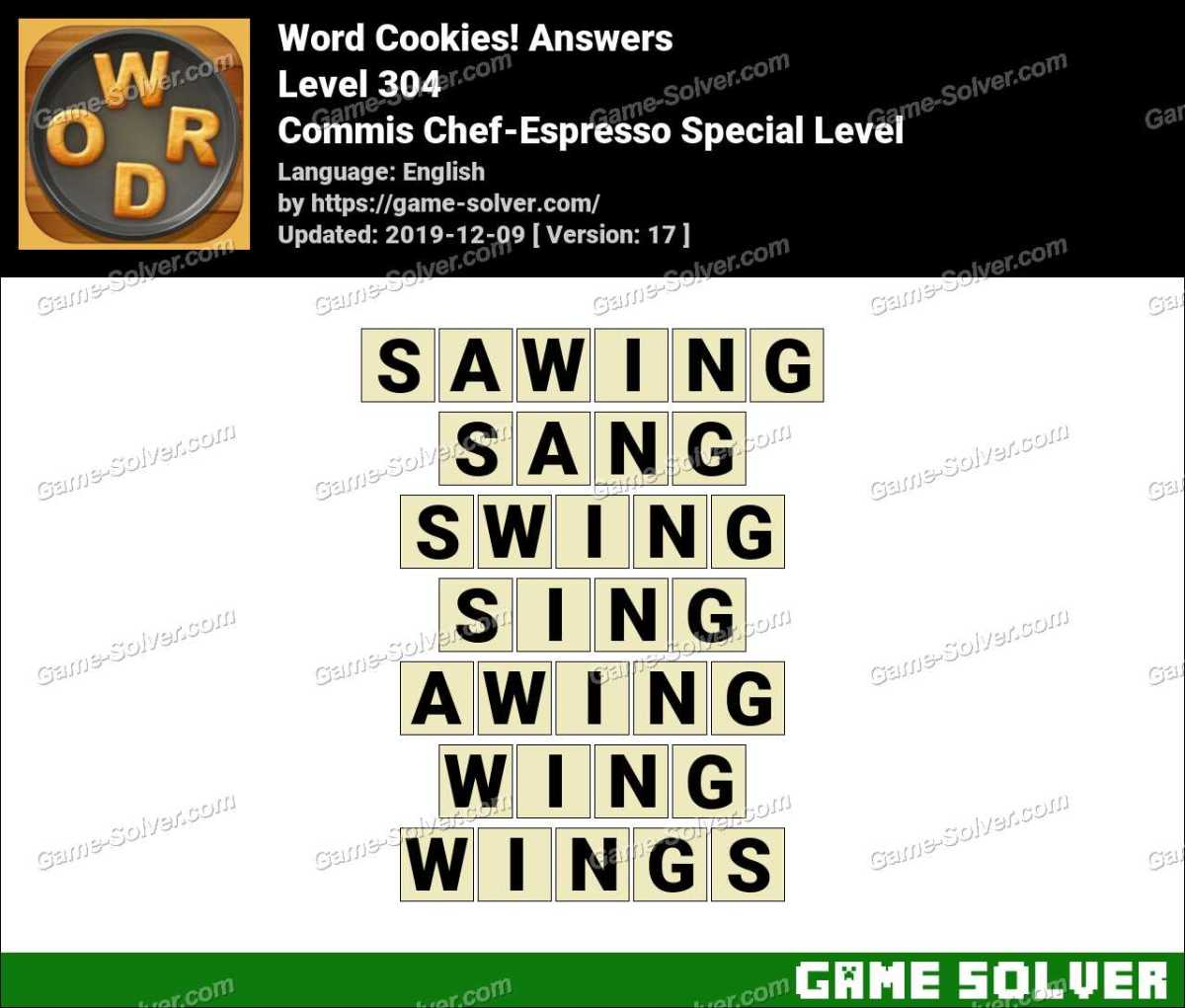Word Cookies Commis Chef-Espresso Special Level Answers