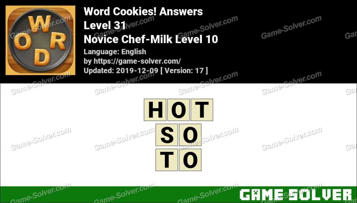 Word Cookies Novice Chef-Milk Level 10 Answers
