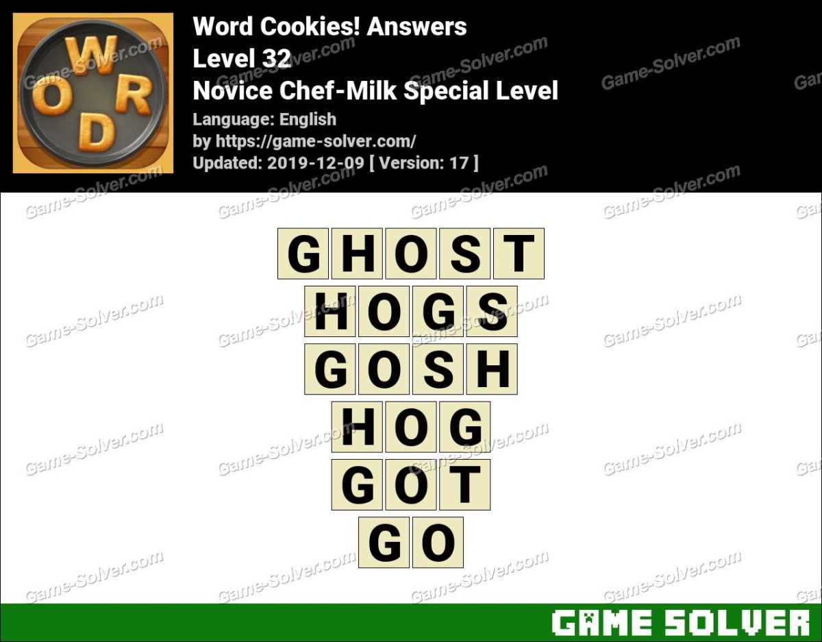 Word Cookies Novice Chef-Milk Special Level Answers