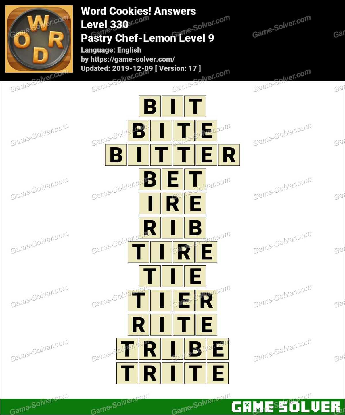 Word Cookies Pastry Chef-Lemon Level 9 Answers