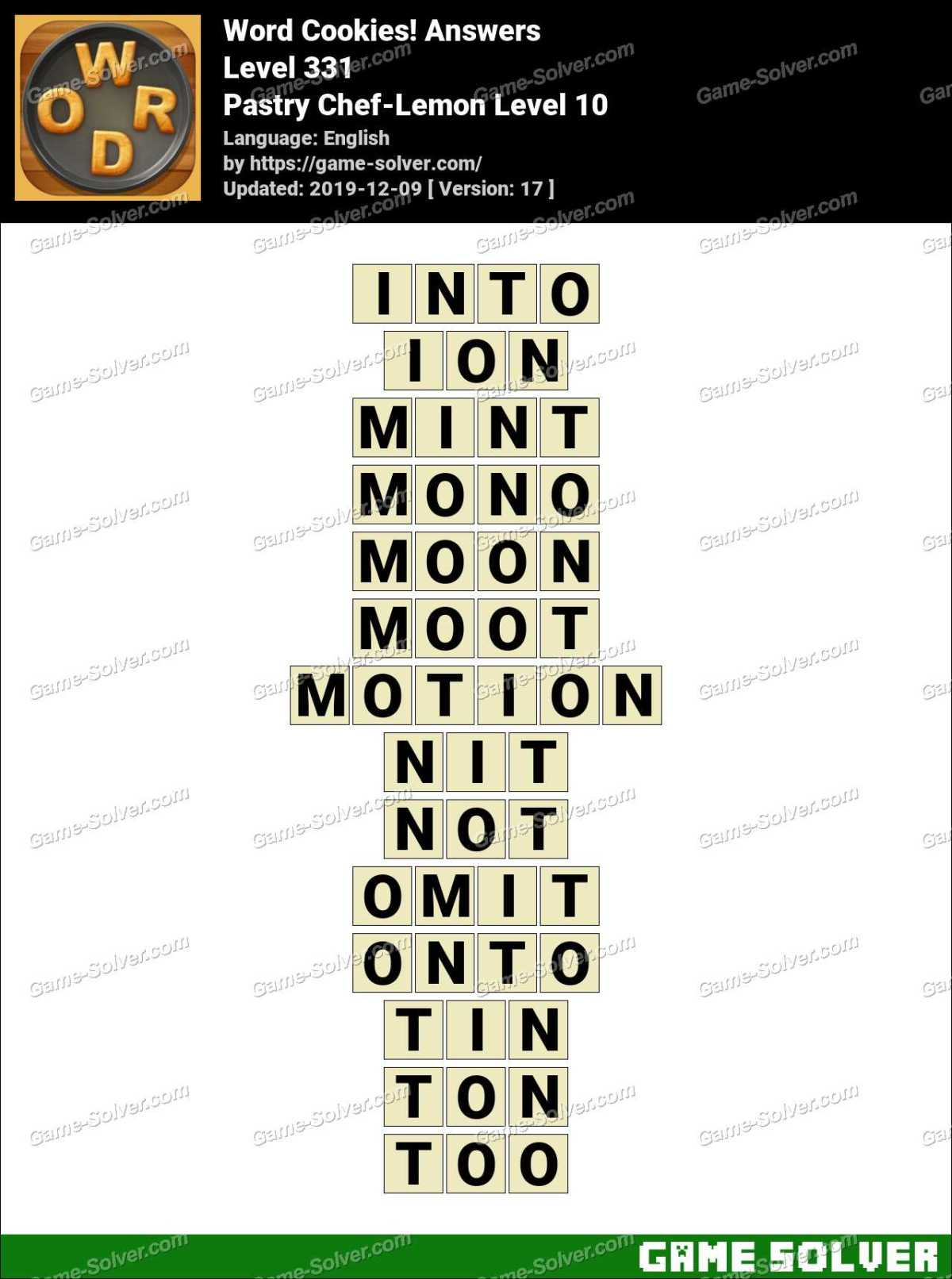 Word Cookies Pastry Chef-Lemon Level 10 Answers