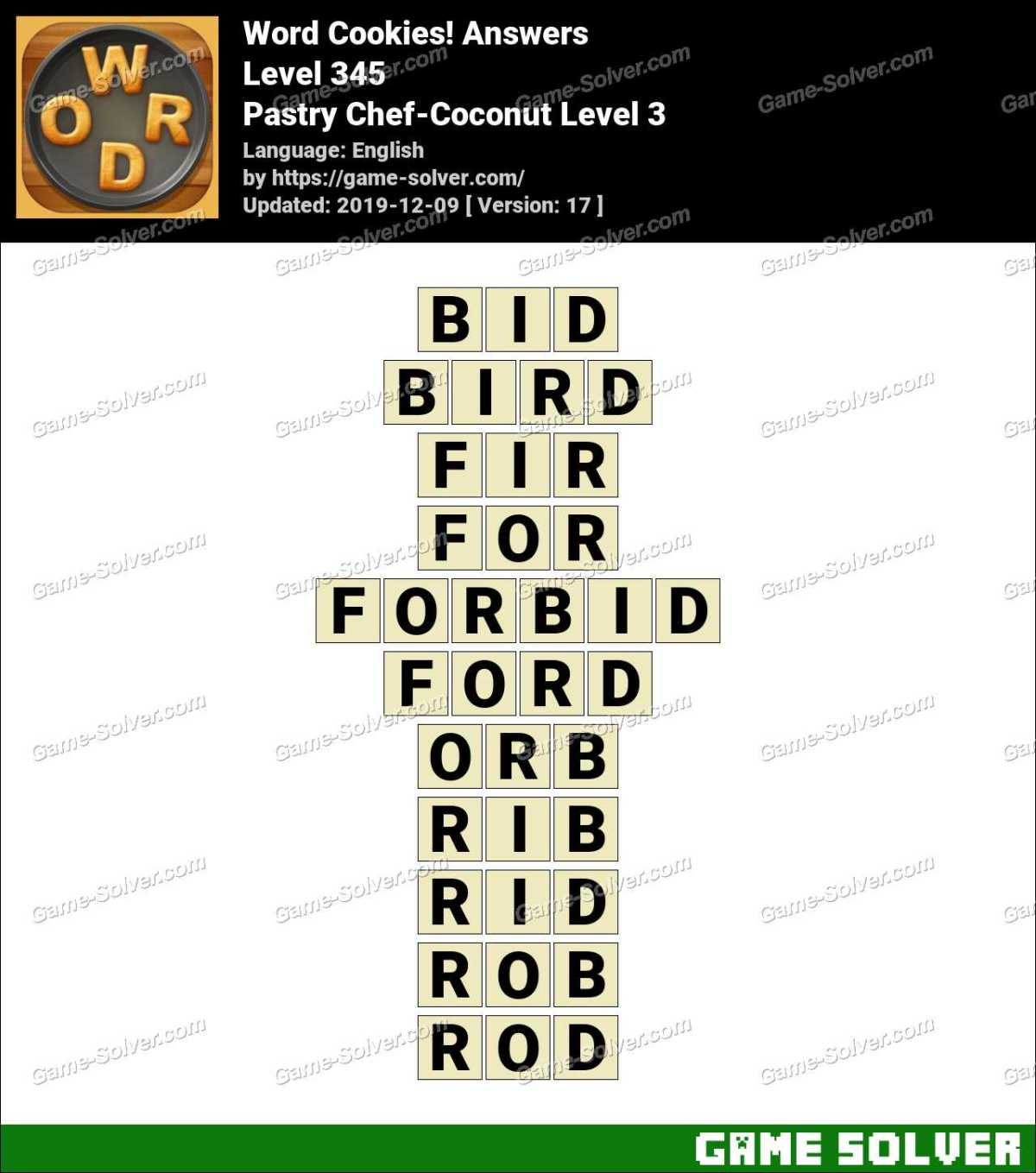 Word Cookies Pastry Chef-Coconut Level 3 Answers