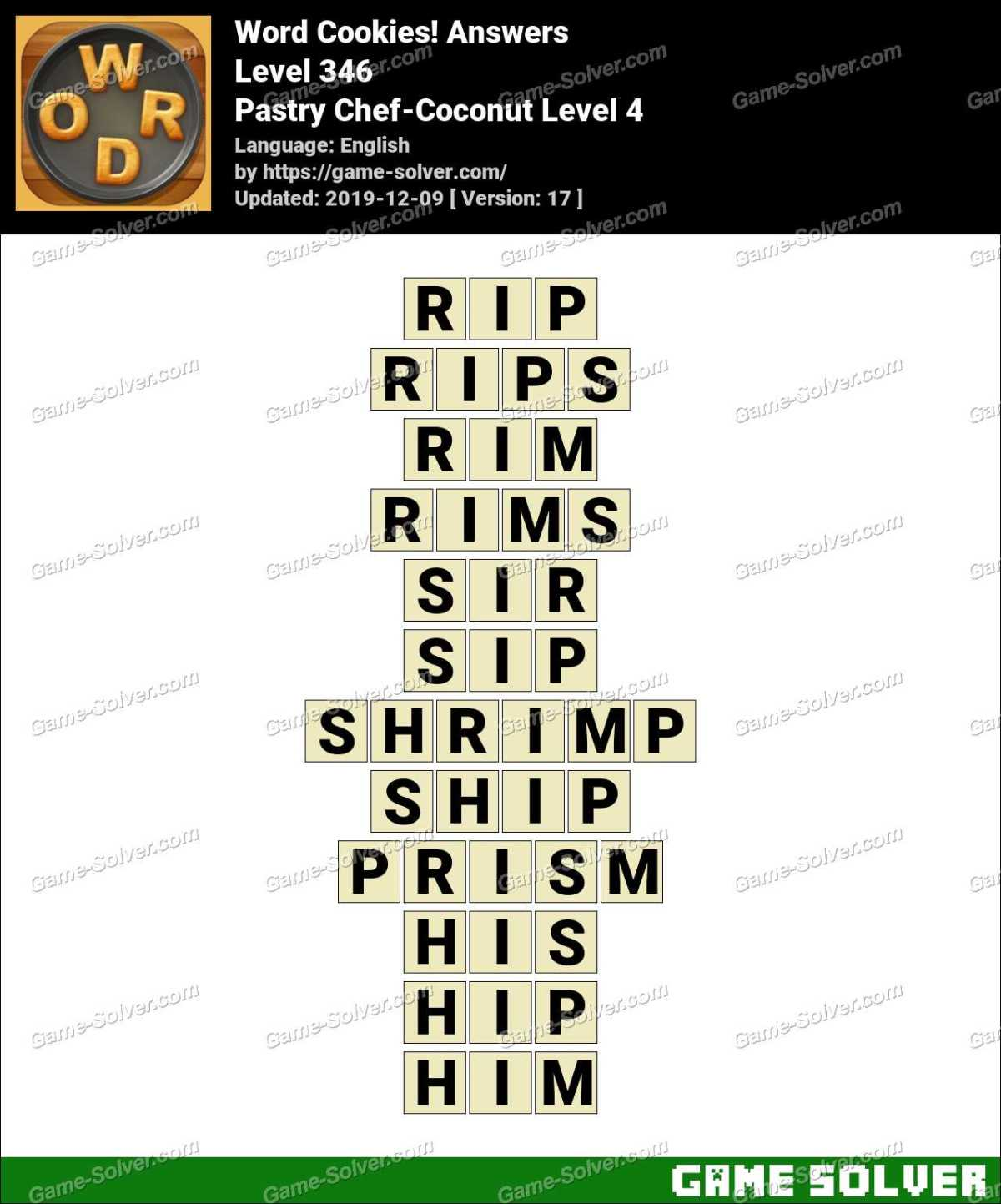 Word Cookies Pastry Chef-Coconut Level 4 Answers