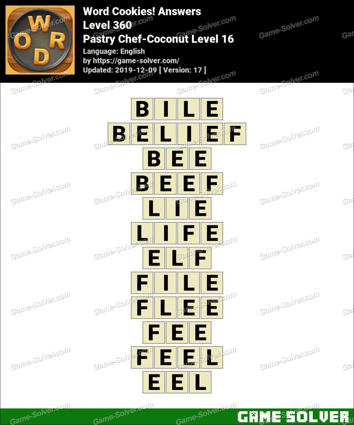 Word Cookies Pastry Chef-Coconut Level 16 Answers