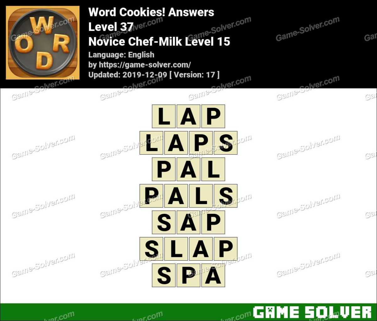 Word Cookies Novice Chef-Milk Level 15 Answers
