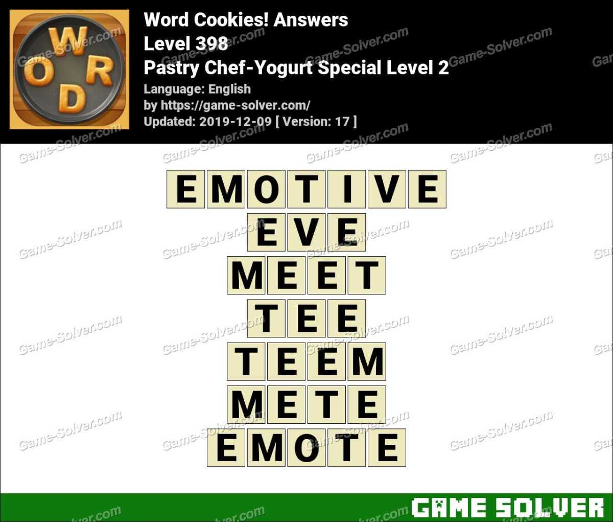 Word Cookies Pastry Chef-Yogurt Special Level 2 Answers