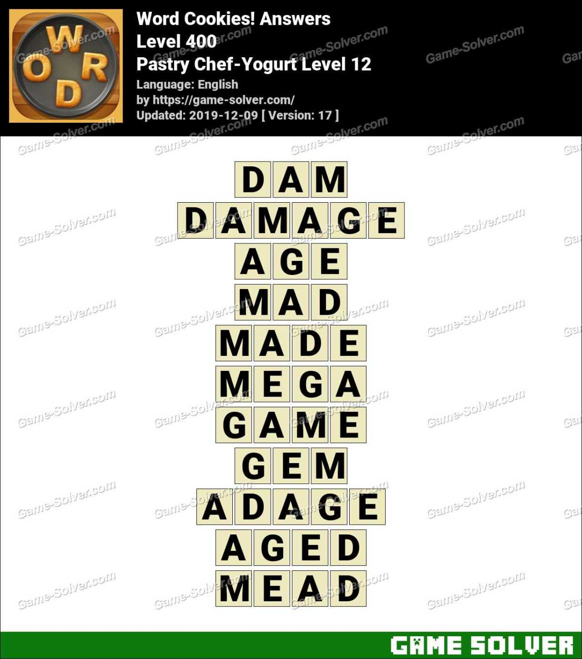 Word Cookies Pastry Chef-Yogurt Level 12 Answers